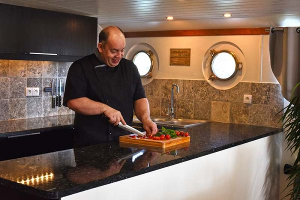 Chef Mike Crowson aboard luxury hotel barge, Finesse